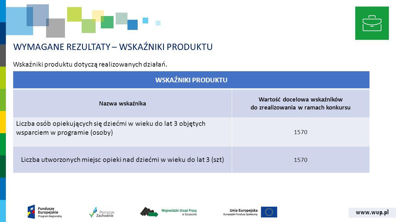 www.wup.pl WYMAGANE REZULTATY – WSKAŹNIKI PRODUKTU Wskaźniki produktu dotyczą realizowanych działań. WSKAŹNIKI PRODUKTU Nazwa wskaźnika Wartość docelo