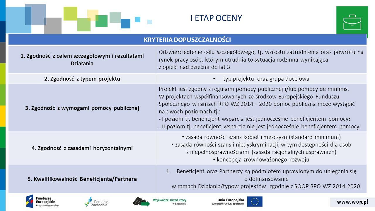 www.wup.pl KRYTERIA DOPUSZCZALNOŚCI 1. Zgodność z celem szczegółowym i rezultatami Działania Odzwierciedlenie celu szczegółowego, tj. wzrostu zatrudni