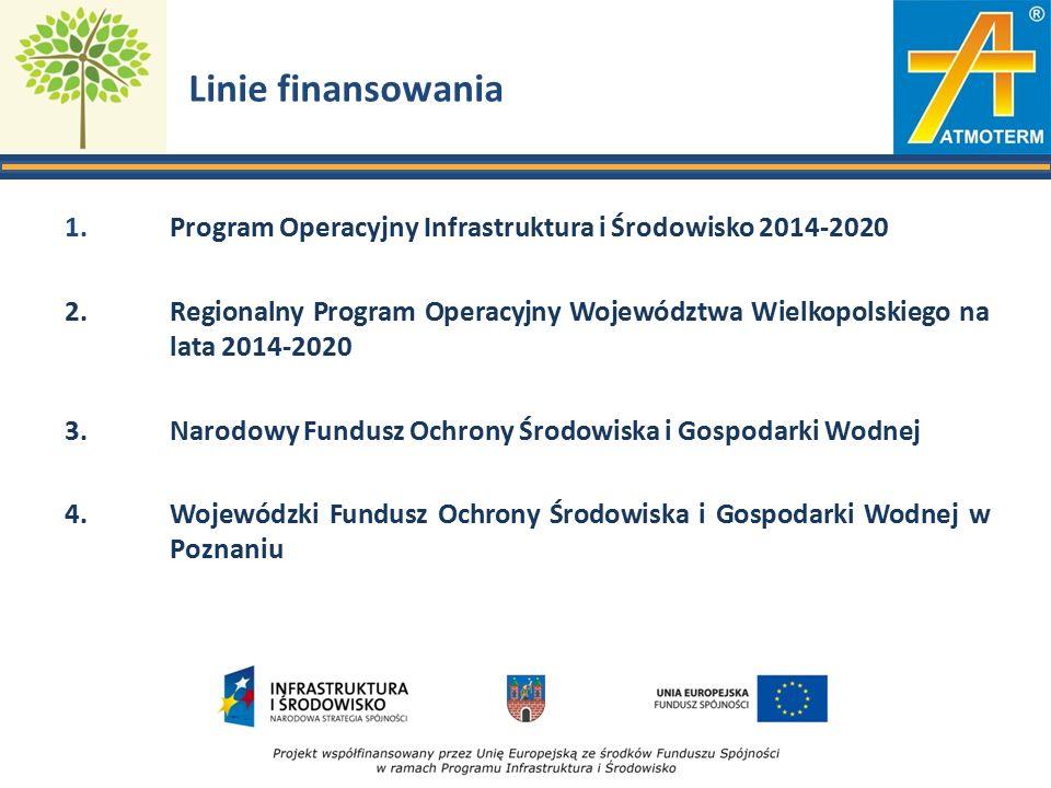 Linie finansowania 1. Program Operacyjny Infrastruktura i Środowisko 2014-2020 2.