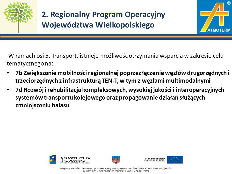 2. Regionalny Program Operacyjny Województwa Wielkopolskiego W ramach osi 5.