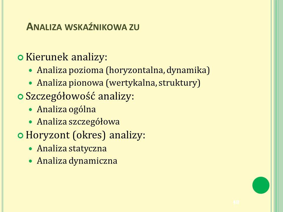 A NALIZA WSKAŹNIKOWA ZU Kierunek analizy: Analiza pozioma (horyzontalna, dynamika) Analiza pionowa (wertykalna, struktury) Szczegółowość analizy: Analiza ogólna Analiza szczegółowa Horyzont (okres) analizy: Analiza statyczna Analiza dynamiczna 48