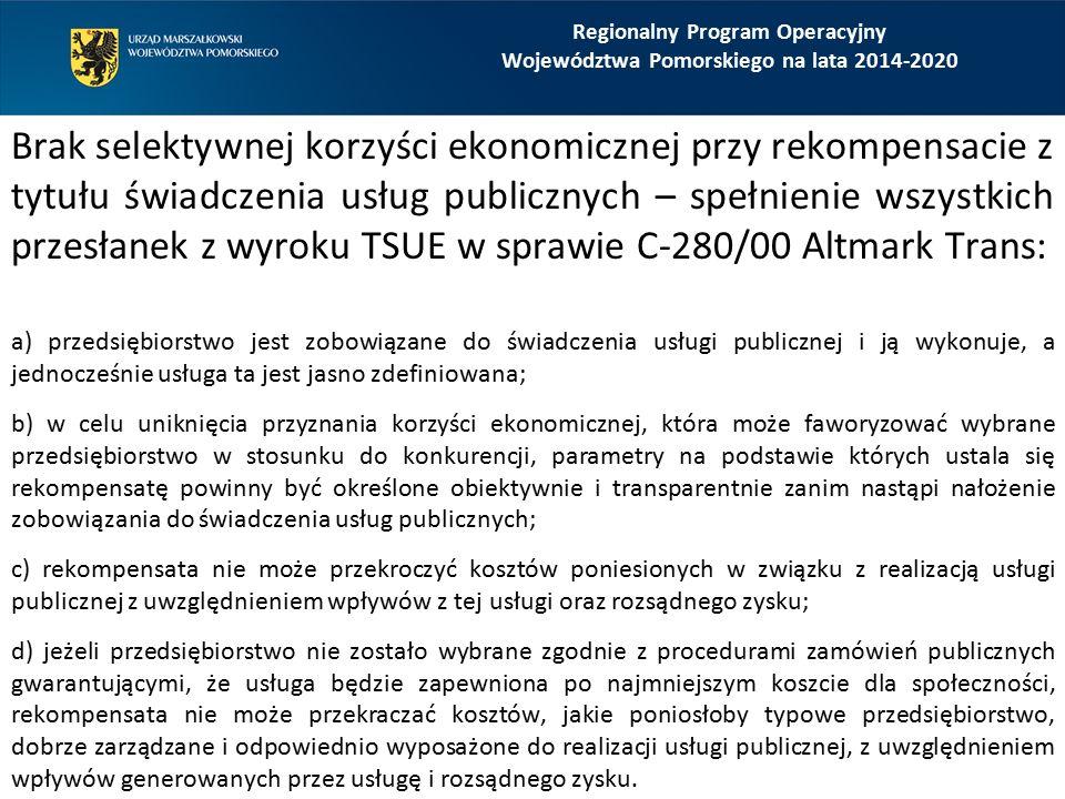 Brak selektywnej korzyści ekonomicznej przy rekompensacie z tytułu świadczenia usług publicznych – spełnienie wszystkich przesłanek z wyroku TSUE w sp