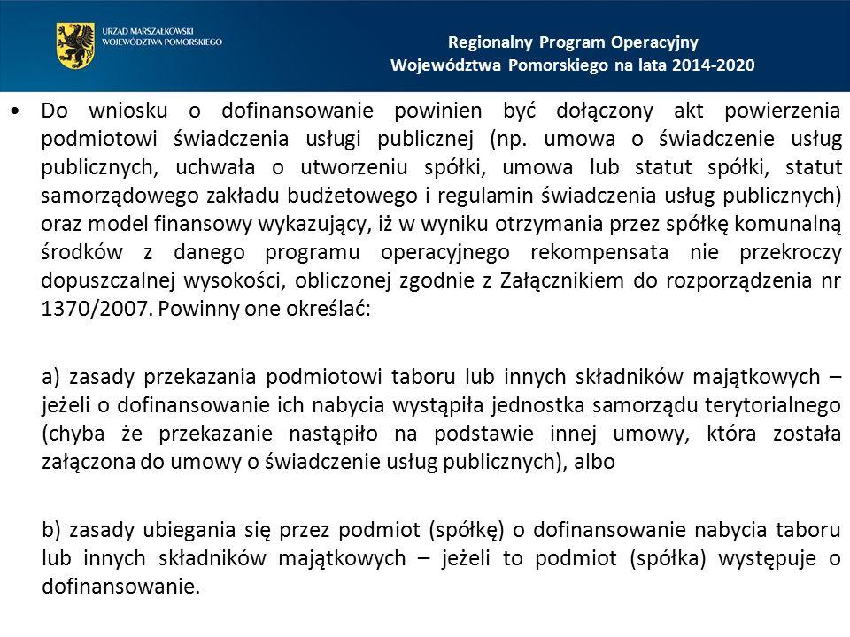 Do wniosku o dofinansowanie powinien być dołączony akt powierzenia podmiotowi świadczenia usługi publicznej (np. umowa o świadczenie usług publicznych