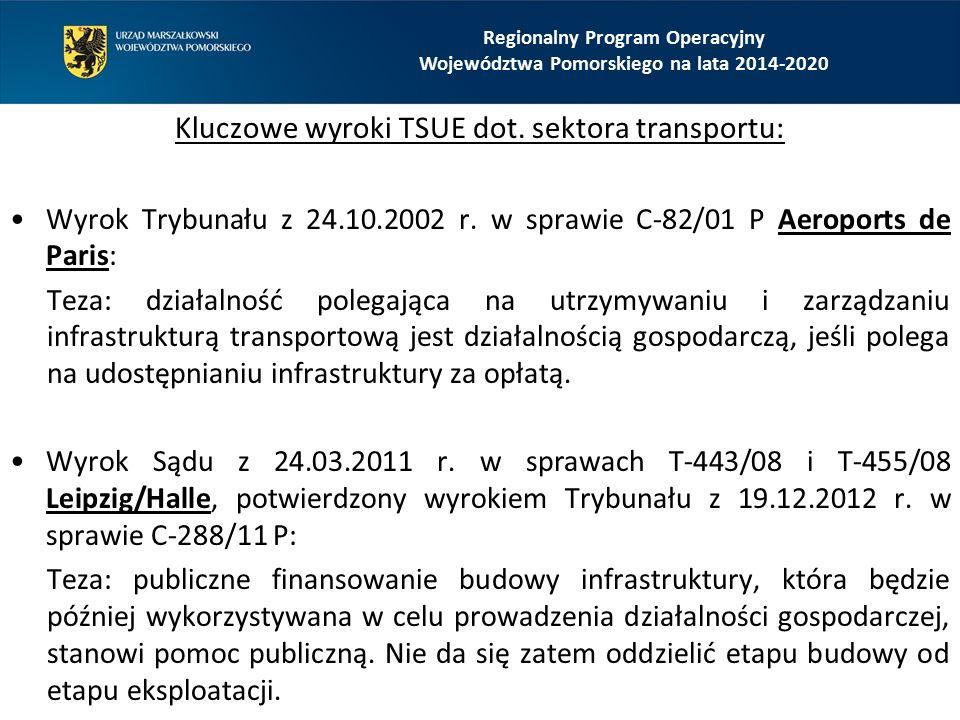 Kluczowe wyroki TSUE dot. sektora transportu: Wyrok Trybunału z 24.10.2002 r. w sprawie C-82/01 P Aeroports de Paris: Teza: działalność polegająca na