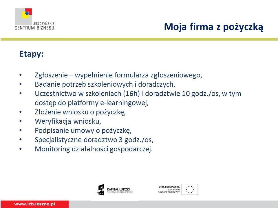 Etapy: Zgłoszenie – wypełnienie formularza zgłoszeniowego, Badanie potrzeb szkoleniowych i doradczych, Uczestnictwo w szkoleniach (16h) i doradztwie 10 godz./os, w tym dostęp do platformy e-learningowej, Złożenie wniosku o pożyczkę, Weryfikacja wniosku, Podpisanie umowy o pożyczkę, Specjalistyczne doradztwo 3 godz./os, Monitoring działalności gospodarczej.