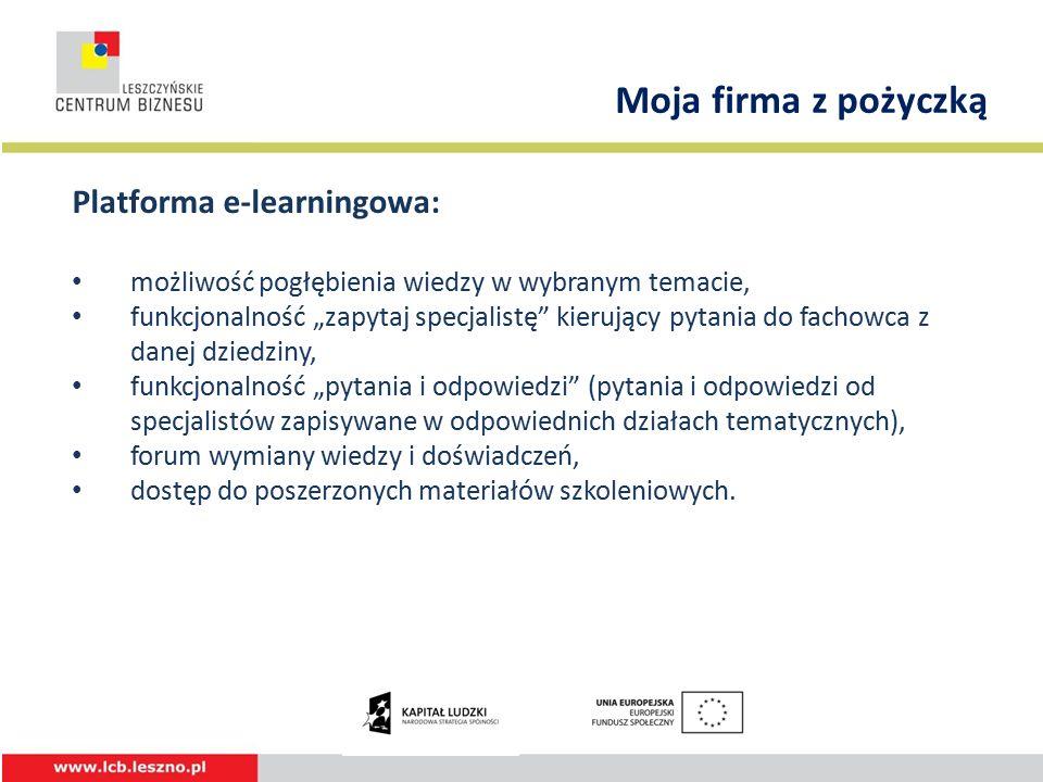 """Platforma e-learningowa: możliwość pogłębienia wiedzy w wybranym temacie, funkcjonalność """"zapytaj specjalistę kierujący pytania do fachowca z danej dziedziny, funkcjonalność """"pytania i odpowiedzi (pytania i odpowiedzi od specjalistów zapisywane w odpowiednich działach tematycznych), forum wymiany wiedzy i doświadczeń, dostęp do poszerzonych materiałów szkoleniowych."""