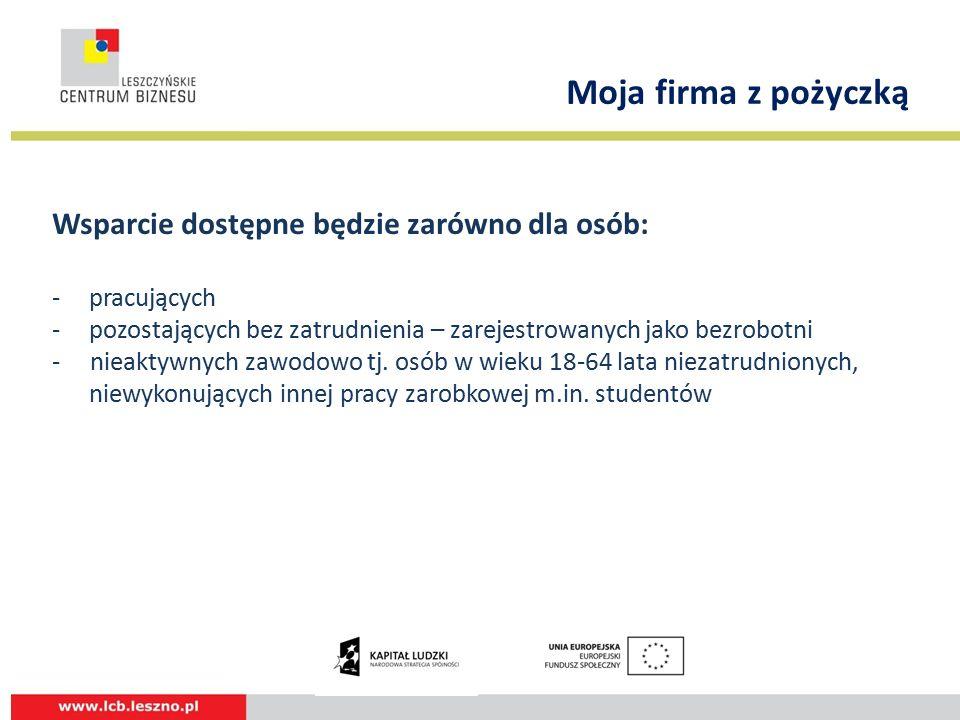 Wsparcie dostępne będzie zarówno dla osób: - pracujących -pozostających bez zatrudnienia – zarejestrowanych jako bezrobotni - nieaktywnych zawodowo tj.