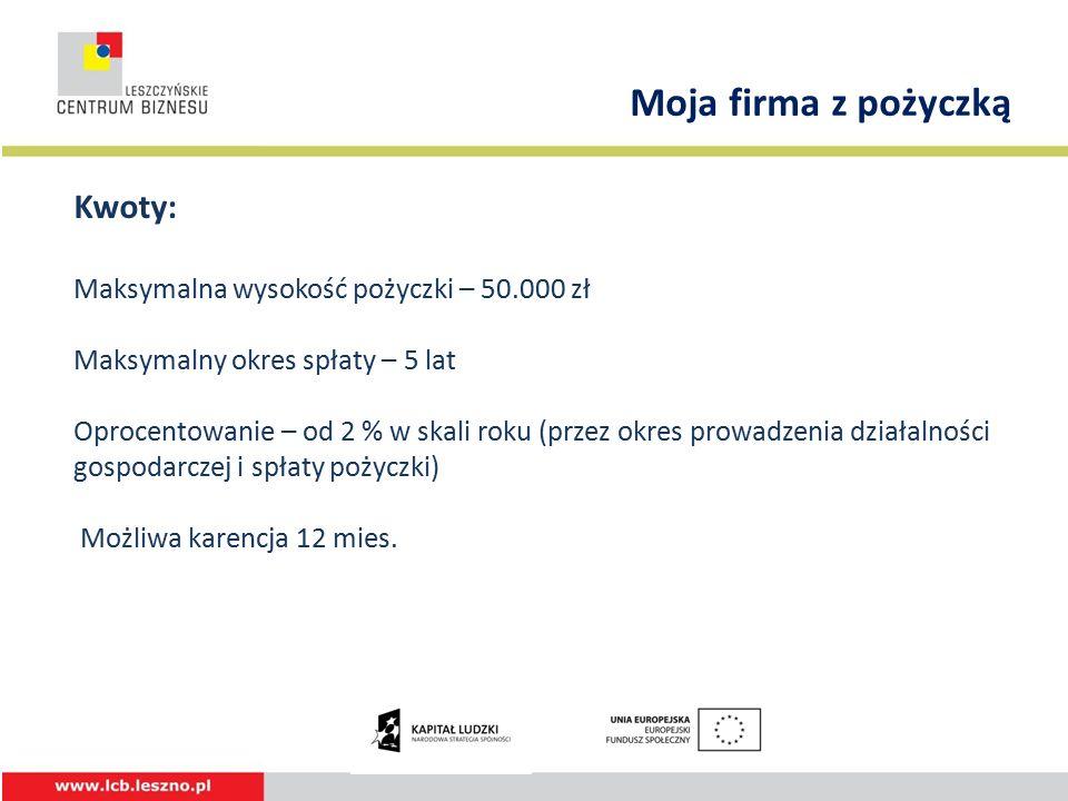 Kwoty: Maksymalna wysokość pożyczki – 50.000 zł Maksymalny okres spłaty – 5 lat Oprocentowanie – od 2 % w skali roku (przez okres prowadzenia działalności gospodarczej i spłaty pożyczki) Możliwa karencja 12 mies.