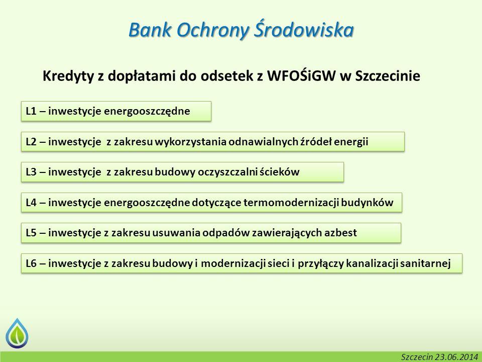 Kołobrzeg, 2-3.06.2014 r. Bank Ochrony Środowiska Kredyty z dopłatami do odsetek z WFOŚiGW w Szczecinie L1 – inwestycje energooszczędne L2 – inwestycj