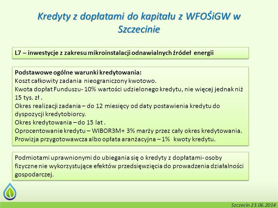 Kołobrzeg, 2-3.06.2014 r. Kredyty z dopłatami do kapitału z WFOŚiGW w Szczecinie L7 – inwestycje z zakresu mikroinstalacji odnawialnych źródeł energii