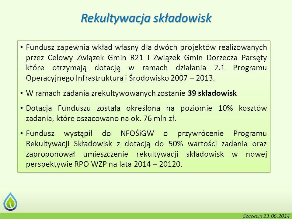 Kołobrzeg, 2-3.06.2014 r. Rekultywacja składowisk Fundusz zapewnia wkład własny dla dwóch projektów realizowanych przez Celowy Związek Gmin R21 i Zwią