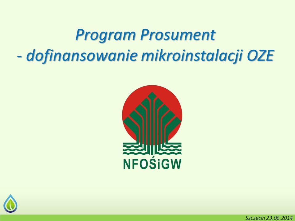 Kołobrzeg, 2-3.06.2014 r. Program Prosument - dofinansowanie mikroinstalacji OZE Szczecin 23.06.2014