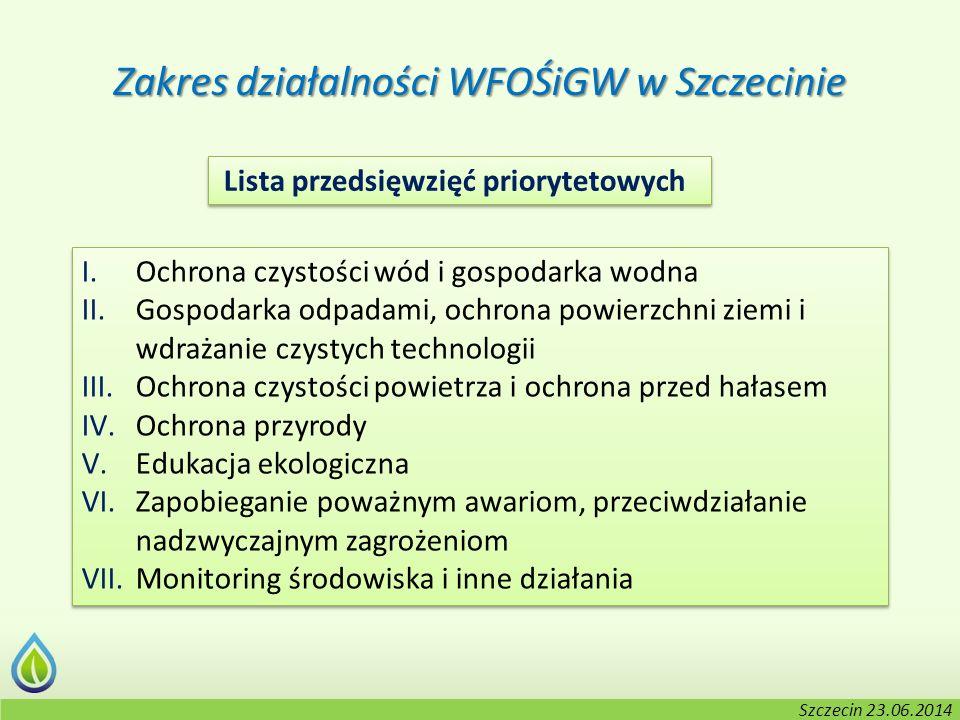 Kołobrzeg, 2-3.06.2014 r. Zakres działalności WFOŚiGW w Szczecinie I.Ochrona czystości wód i gospodarka wodna II.Gospodarka odpadami, ochrona powierzc