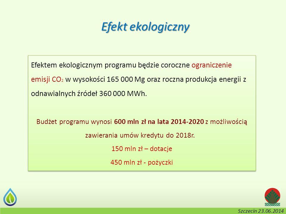 Kołobrzeg, 2-3.06.2014 r. Efekt ekologiczny Efektem ekologicznym programu będzie coroczne ograniczenie emisji CO 2 w wysokości 165 000 Mg oraz roczna