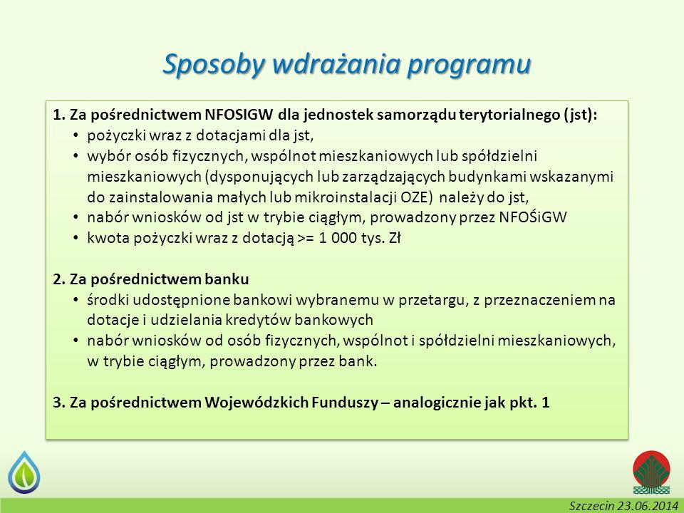 Kołobrzeg, 2-3.06.2014 r. Sposoby wdrażania programu 1. Za pośrednictwem NFOSIGW dla jednostek samorządu terytorialnego (jst): pożyczki wraz z dotacja