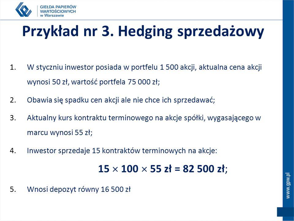Hedging sprzedażowy - short hedge Pozycja długa STRATA Pozycja krótka ZYSK spadek cen akcji RYNEK KASOWY spadek kursu kontraktu RYNEK TERMINOWY STRATA ZYSK +  0