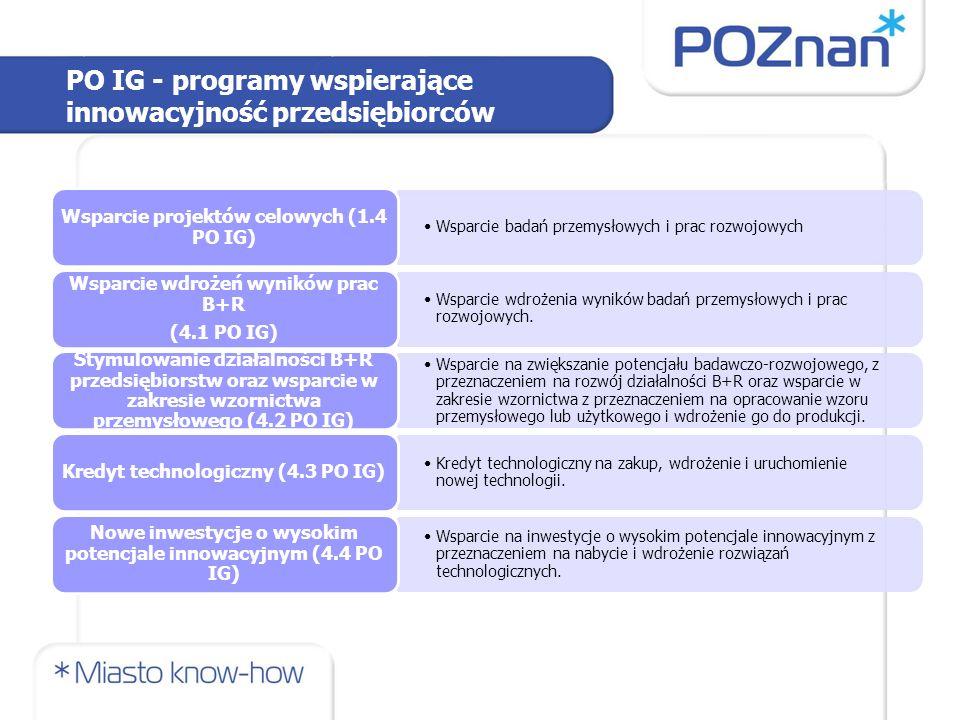 PO IG - programy wspierające innowacyjność przedsiębiorców Wsparcie badań przemysłowych i prac rozwojowych Wsparcie projektów celowych (1.4 PO IG) Wsp