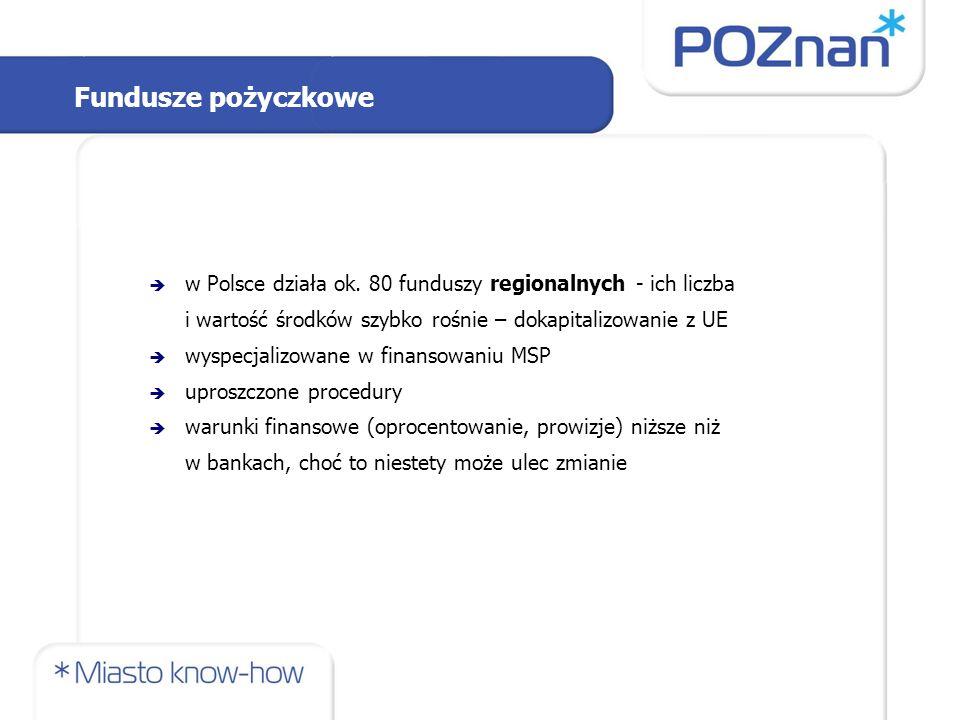 Fundusze pożyczkowe  w Polsce działa ok. 80 funduszy regionalnych - ich liczba i wartość środków szybko rośnie – dokapitalizowanie z UE  wyspecjaliz