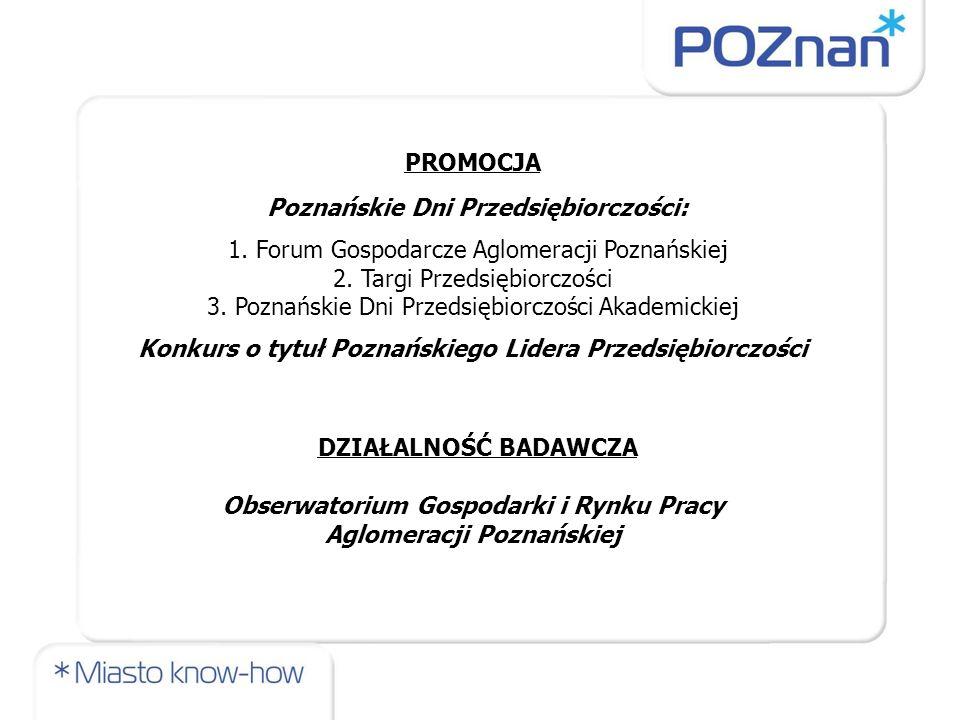 PROMOCJA Poznańskie Dni Przedsiębiorczości: 1. Forum Gospodarcze Aglomeracji Poznańskiej 2. Targi Przedsiębiorczości 3. Poznańskie Dni Przedsiębiorczo