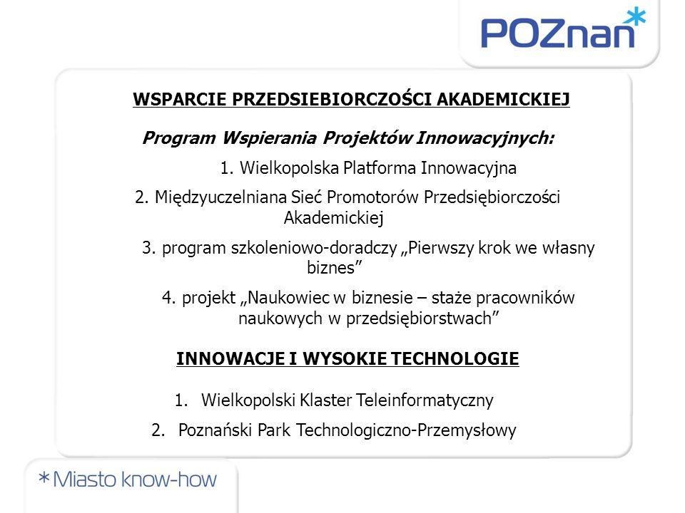 WSPARCIE PRZEDSIEBIORCZOŚCI AKADEMICKIEJ Program Wspierania Projektów Innowacyjnych: 1. Wielkopolska Platforma Innowacyjna 2. Międzyuczelniana Sieć Pr