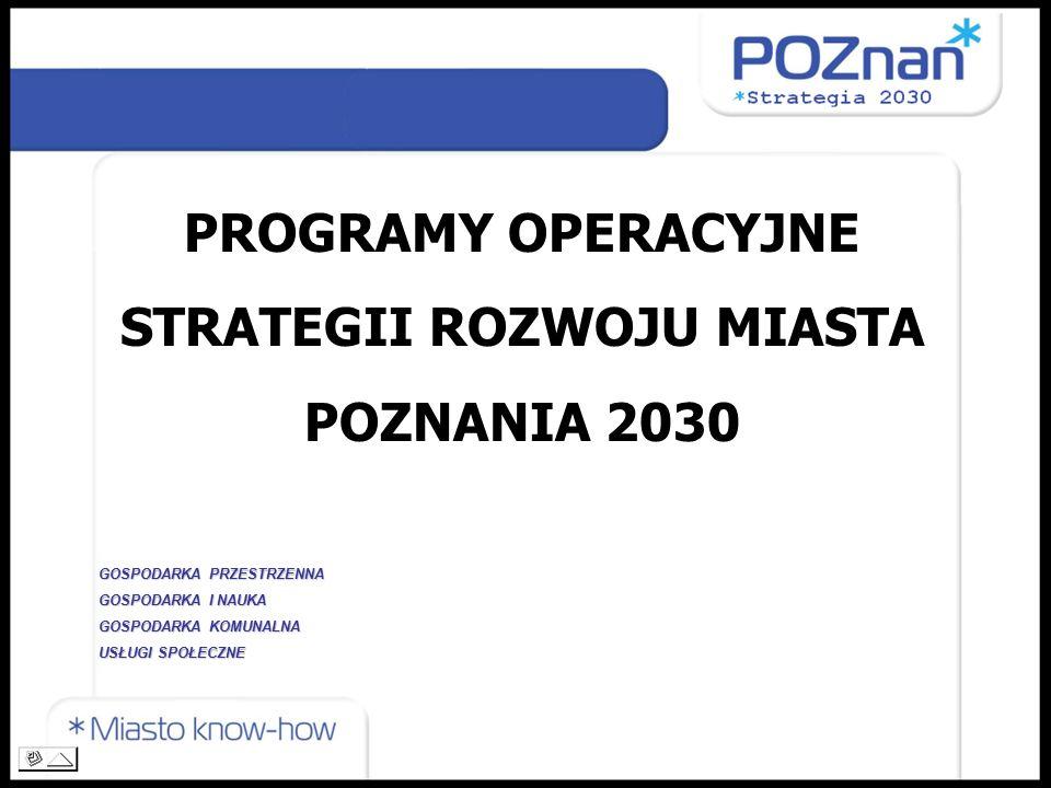 PROGRAMY OPERACYJNE STRATEGII ROZWOJU MIASTA POZNANIA 2030 GOSPODARKA PRZESTRZENNA GOSPODARKA I NAUKA GOSPODARKA KOMUNALNA USŁUGI SPOŁECZNE