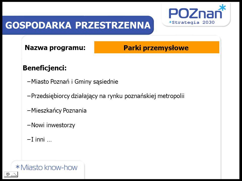 Nazwa programu: Beneficjenci: −Miasto Poznań i Gminy sąsiednie −Przedsiębiorcy działający na rynku poznańskiej metropolii −Mieszkańcy Poznania −Nowi inwestorzy −I inni … GOSPODARKA PRZESTRZENNA Parki przemysłowe