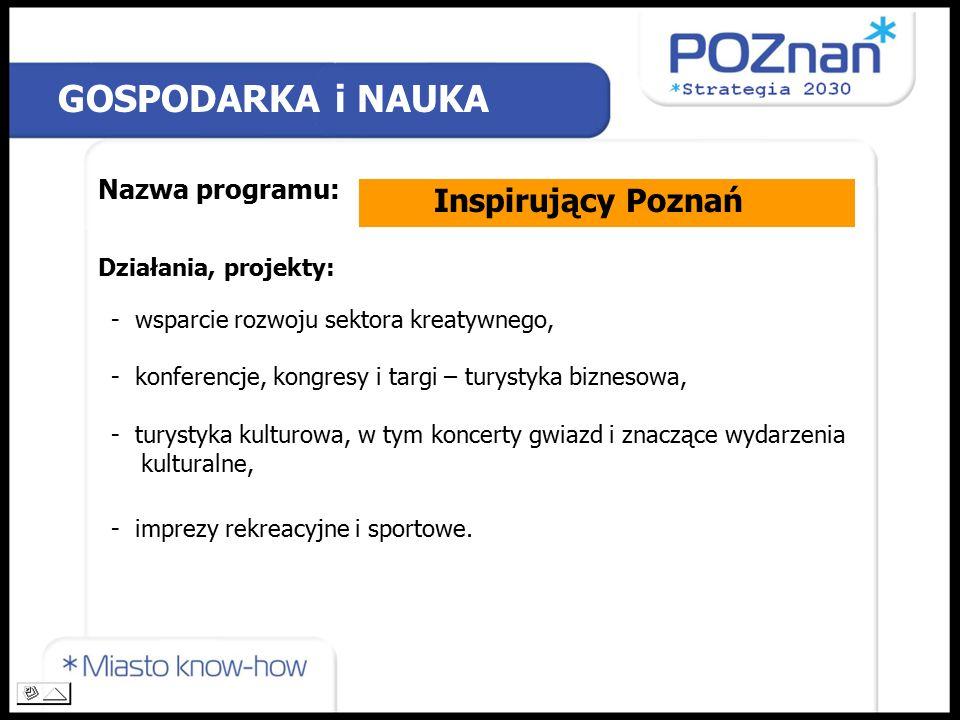 Nazwa programu: Działania, projekty: GOSPODARKA i NAUKA Inspirujący Poznań - wsparcie rozwoju sektora kreatywnego, - konferencje, kongresy i targi – turystyka biznesowa, - turystyka kulturowa, w tym koncerty gwiazd i znaczące wydarzenia kulturalne, - imprezy rekreacyjne i sportowe.