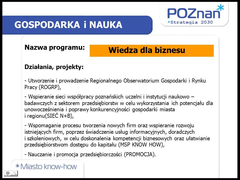 Nazwa programu: Działania, projekty: GOSPODARKA i NAUKA Wiedza dla biznesu - Utworzenie i prowadzenie Regionalnego Obserwatorium Gospodarki i Rynku Pracy (ROGRP), - Wspieranie sieci współpracy poznańskich uczelni i instytucji naukowo – badawczych z sektorem przedsiębiorstw w celu wykorzystania ich potencjału dla unowocześnienia i poprawy konkurencyjności gospodarki miasta i regionu(SIEĆ N+B), - Wspomaganie procesu tworzenia nowych firm oraz wspieranie rozwoju istniejących firm, poprzez świadczenie usług informacyjnych, doradczych i szkoleniowych, w celu doskonalenia kompetencji biznesowych oraz ułatwianie przedsiębiorstwom dostępu do kapitału (MSP KNOW HOW), - Nauczanie i promocja przedsiębiorczości (PROMOCJA).