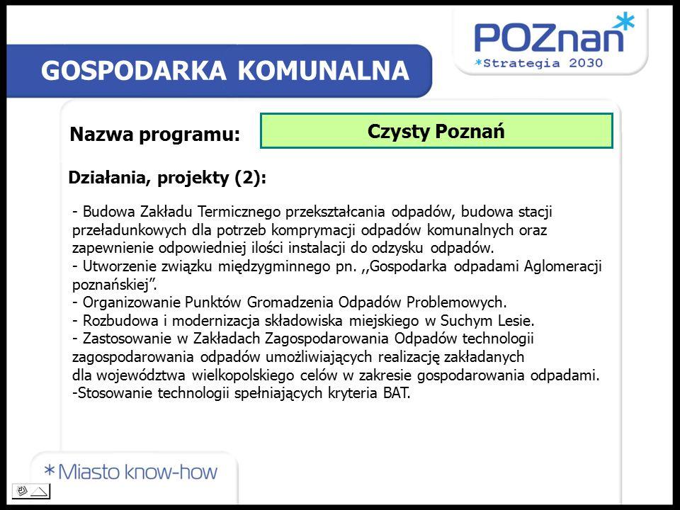 GOSPODARKA KOMUNALNA Nazwa programu: Czysty Poznań Działania, projekty (2): - Budowa Zakładu Termicznego przekształcania odpadów, budowa stacji przeładunkowych dla potrzeb komprymacji odpadów komunalnych oraz zapewnienie odpowiedniej ilości instalacji do odzysku odpadów.
