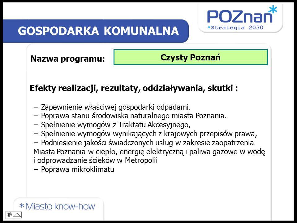 GOSPODARKA KOMUNALNA Nazwa programu: Czysty Poznań Efekty realizacji, rezultaty, oddziaływania, skutki : − Zapewnienie właściwej gospodarki odpadami.