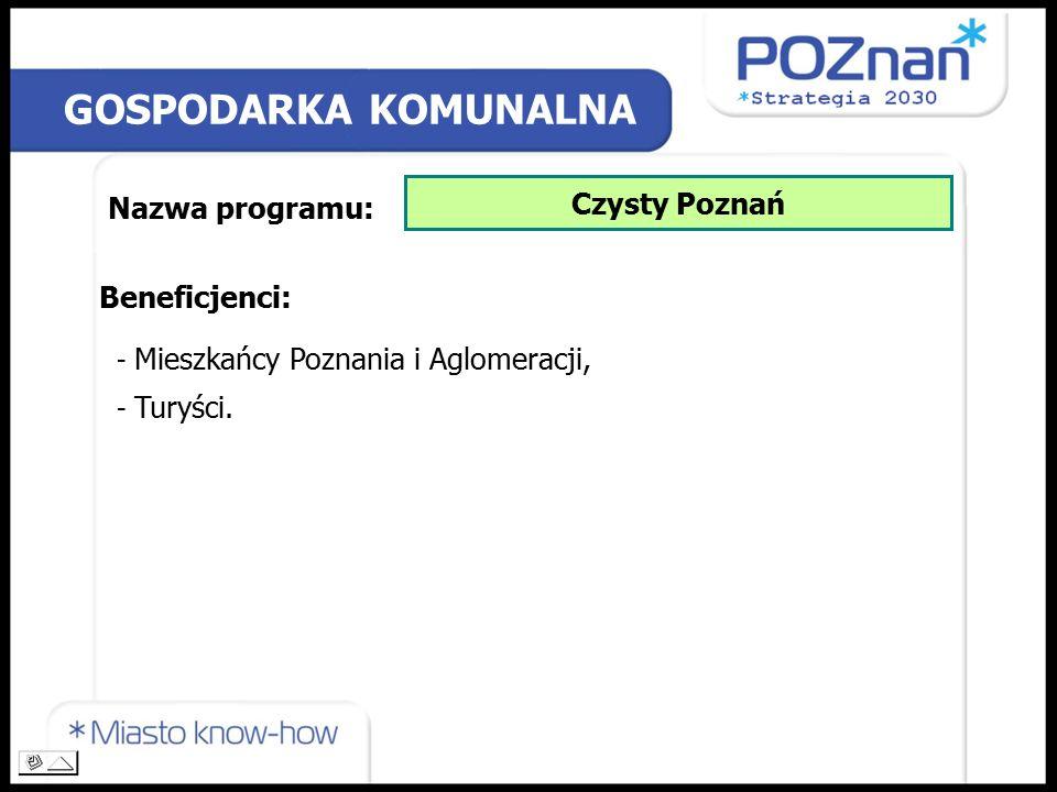 GOSPODARKA KOMUNALNA Nazwa programu: Czysty Poznań Beneficjenci: - Mieszkańcy Poznania i Aglomeracji, - Turyści.