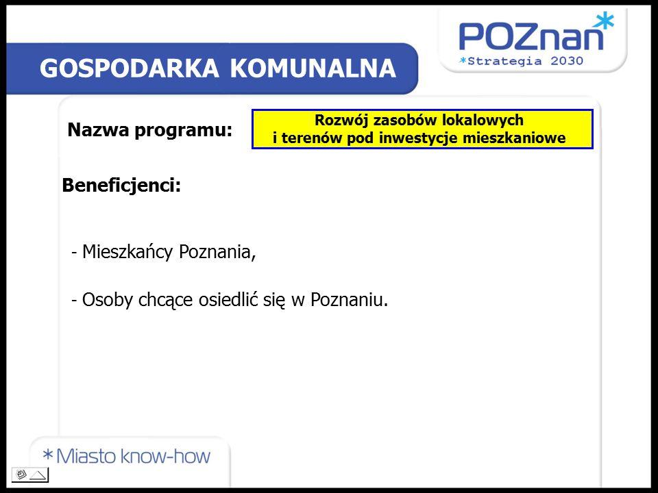 GOSPODARKA KOMUNALNA Nazwa programu: Rozwój zasobów lokalowych i terenów pod inwestycje mieszkaniowe Beneficjenci: - Mieszkańcy Poznania, - Osoby chcące osiedlić się w Poznaniu.