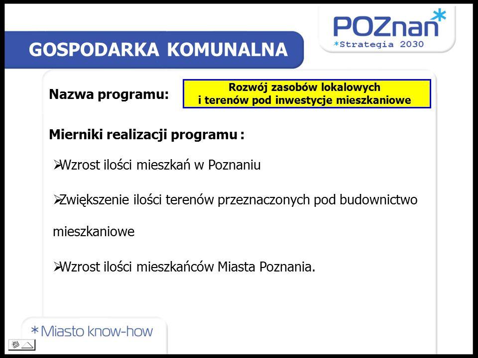 GOSPODARKA KOMUNALNA Nazwa programu: Rozwój zasobów lokalowych i terenów pod inwestycje mieszkaniowe Mierniki realizacji programu :  Wzrost ilości mieszkań w Poznaniu  Zwiększenie ilości terenów przeznaczonych pod budownictwo mieszkaniowe  Wzrost ilości mieszkańców Miasta Poznania.