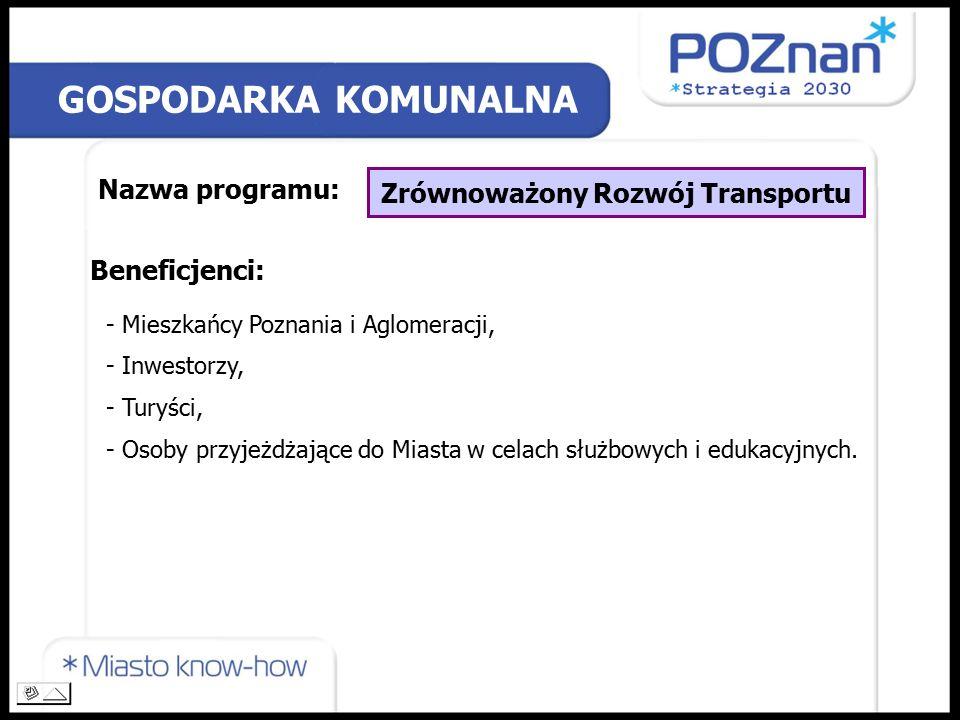 GOSPODARKA KOMUNALNA Nazwa programu: Zrównoważony Rozwój Transportu Beneficjenci: - Mieszkańcy Poznania i Aglomeracji, - Inwestorzy, - Turyści, - Osoby przyjeżdżające do Miasta w celach służbowych i edukacyjnych.