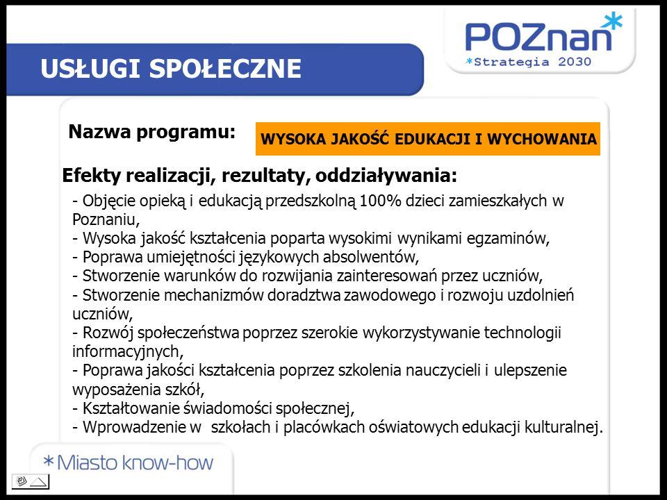 USŁUGI SPOŁECZNE Nazwa programu: WYSOKA JAKOŚĆ EDUKACJI I WYCHOWANIA Efekty realizacji, rezultaty, oddziaływania: - Objęcie opieką i edukacją przedszkolną 100% dzieci zamieszkałych w Poznaniu, - Wysoka jakość kształcenia poparta wysokimi wynikami egzaminów, - Poprawa umiejętności językowych absolwentów, - Stworzenie warunków do rozwijania zainteresowań przez uczniów, - Stworzenie mechanizmów doradztwa zawodowego i rozwoju uzdolnień uczniów, - Rozwój społeczeństwa poprzez szerokie wykorzystywanie technologii informacyjnych, - Poprawa jakości kształcenia poprzez szkolenia nauczycieli i ulepszenie wyposażenia szkół, - Kształtowanie świadomości społecznej, - Wprowadzenie w szkołach i placówkach oświatowych edukacji kulturalnej.