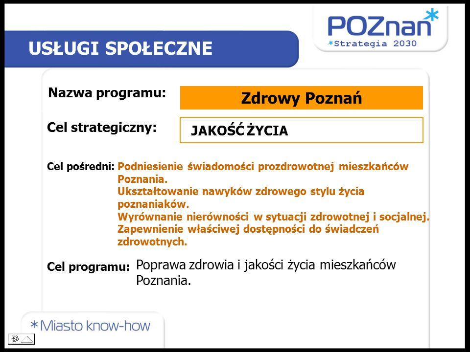 USŁUGI SPOŁECZNE Nazwa programu: Zdrowy Poznań Cel strategiczny: Cel pośredni: Cel programu: JAKOŚĆ ŻYCIA Podniesienie świadomości prozdrowotnej mieszkańców Poznania.