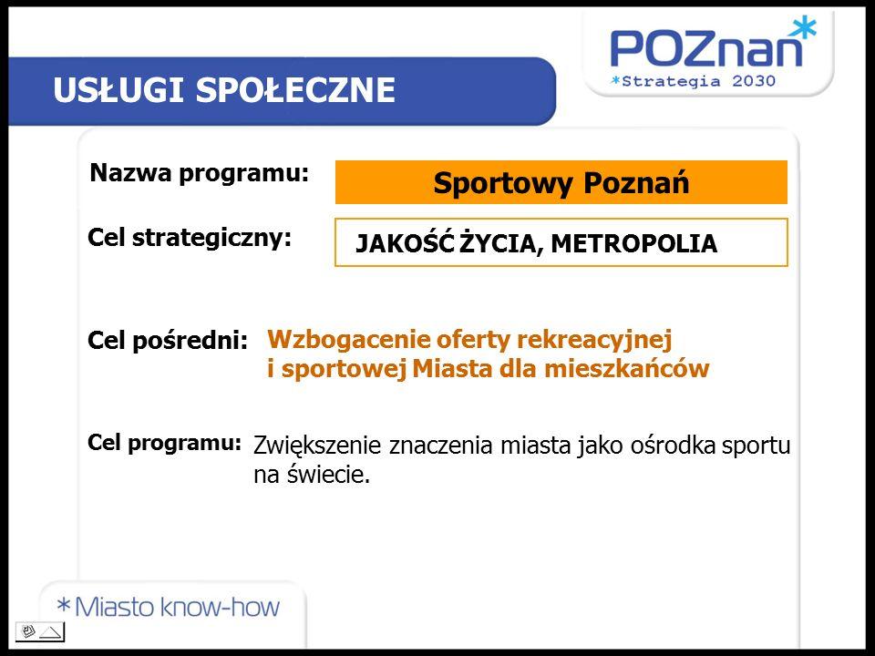 USŁUGI SPOŁECZNE Nazwa programu: Sportowy Poznań Cel strategiczny: Cel pośredni: Cel programu: JAKOŚĆ ŻYCIA, METROPOLIA Wzbogacenie oferty rekreacyjnej i sportowej Miasta dla mieszkańców Zwiększenie znaczenia miasta jako ośrodka sportu na świecie.