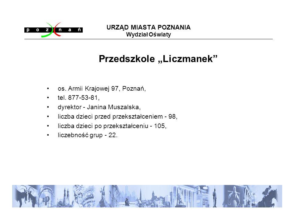 URZĄD MIASTA POZNANIA Wydział Oświaty os. Armii Krajowej 97, Poznań, tel.