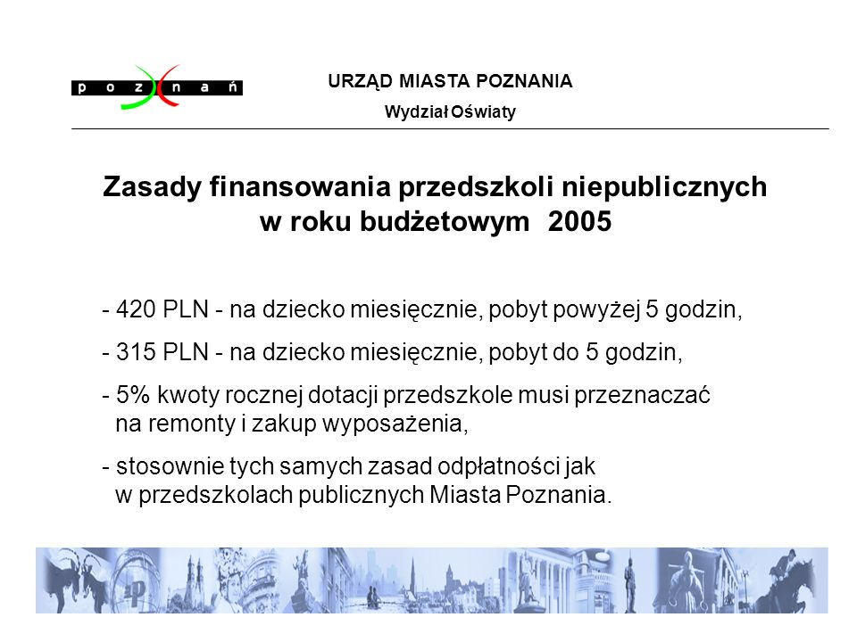 URZĄD MIASTA POZNANIA Wydział Oświaty Zasady finansowania przedszkoli niepublicznych w roku budżetowym 2005 - 420 PLN - na dziecko miesięcznie, pobyt powyżej 5 godzin, - 315 PLN - na dziecko miesięcznie, pobyt do 5 godzin, - 5% kwoty rocznej dotacji przedszkole musi przeznaczać na remonty i zakup wyposażenia, - stosownie tych samych zasad odpłatności jak w przedszkolach publicznych Miasta Poznania.
