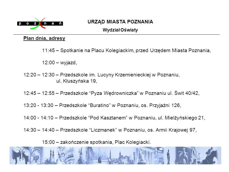 Plan dnia, adresy 11:45 – Spotkanie na Placu Kolegiackim, przed Urzędem Miasta Poznania, 12:00 – wyjazd, 12:20 – 12:30 – Przedszkole im.