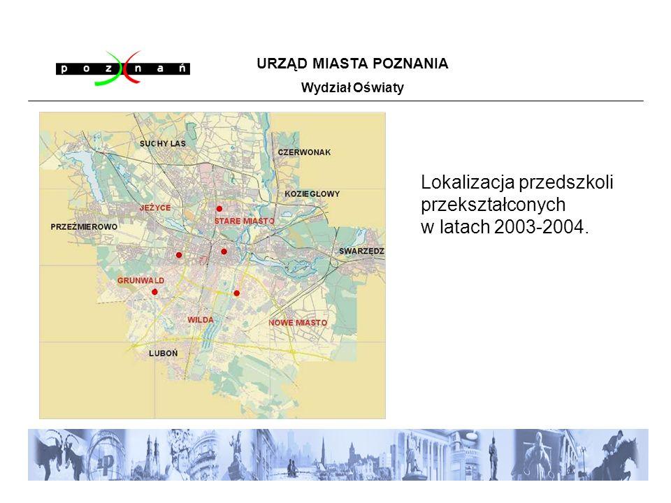 Lokalizacja przedszkoli przekształconych w latach 2003-2004. URZĄD MIASTA POZNANIA Wydział Oświaty
