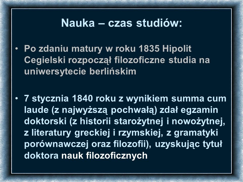 Strona tytułowa rozprawy doktorskiej Hipolita Cegielskiego Dyplom doktorski Hipolita Cegielskiego (1840)