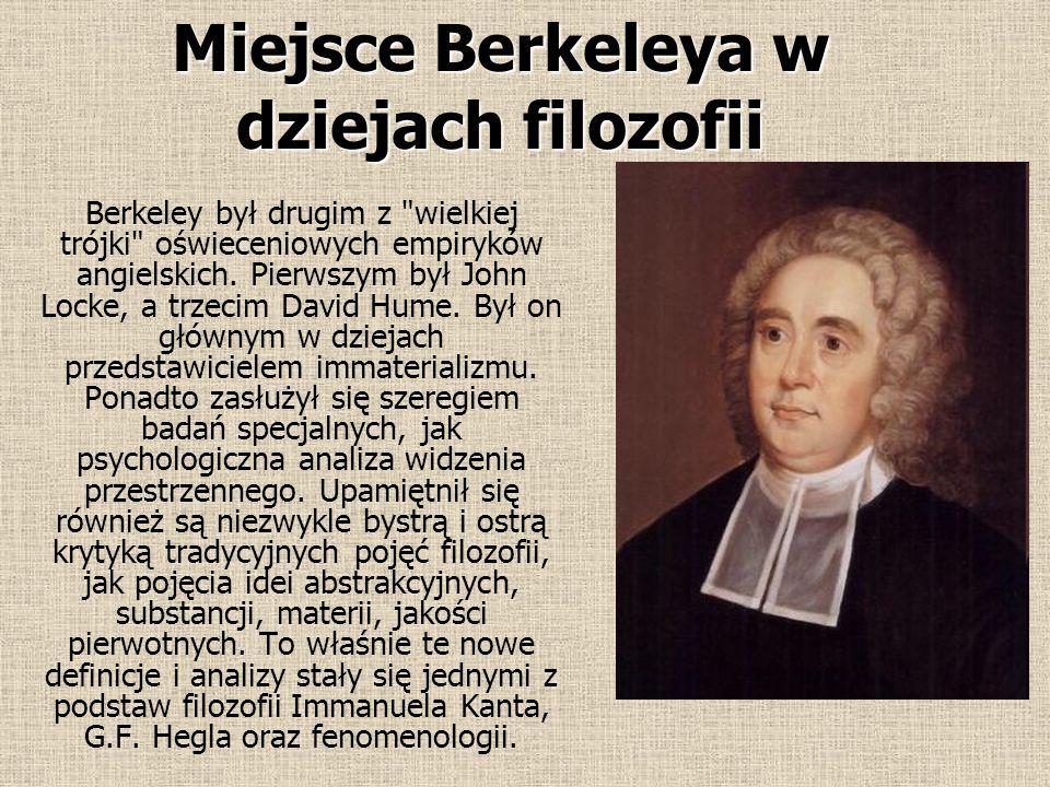 Spirytualizm Immaterializm stanowił niejako połowę filozofii Berkeleya; druga jej połowa była właśnie spirytualistyczna. Aby istniały idee, muszą istn