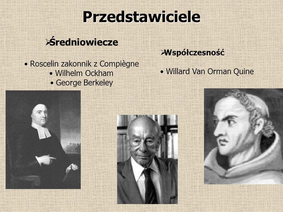 Przedstawiciele  Średniowiecze Roscelin zakonnik z Compiègne Wilhelm Ockham George Berkeley  Współczesność Willard Van Orman Quine
