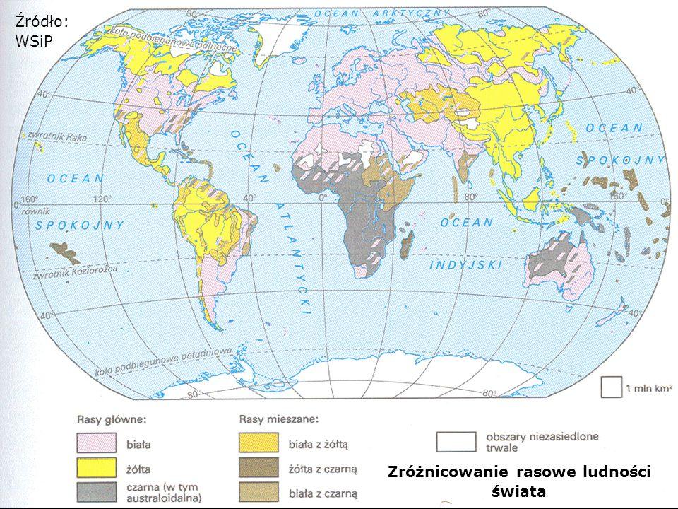 Zróżnicowanie rasowe ludności świata (wersja uproszczona) Źródło: WSiP