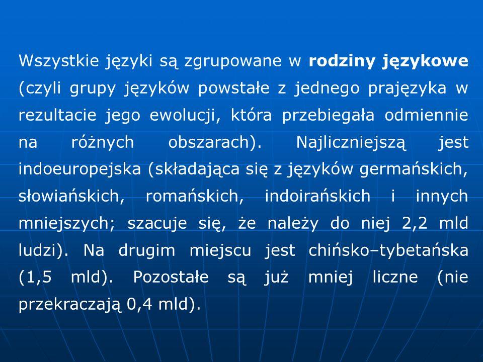 Wszystkie języki są zgrupowane w rodziny językowe (czyli grupy języków powstałe z jednego prajęzyka w rezultacie jego ewolucji, która przebiegała odmi