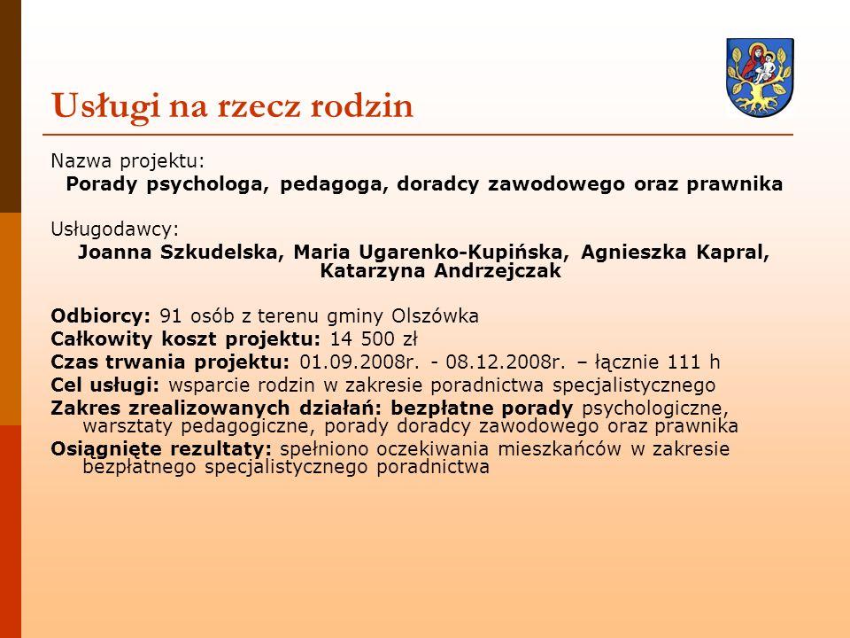 Nazwa projektu: Porady psychologa, pedagoga, doradcy zawodowego oraz prawnika Usługodawcy: Joanna Szkudelska, Maria Ugarenko-Kupińska, Agnieszka Kapra