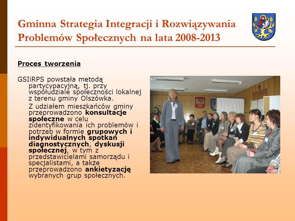 Gminna Strategia Integracji i Rozwiązywania Problemów Społecznych na lata 2008-2013 Proces tworzenia GSIiRPS powstała metodą partycypacyjną, tj. przy