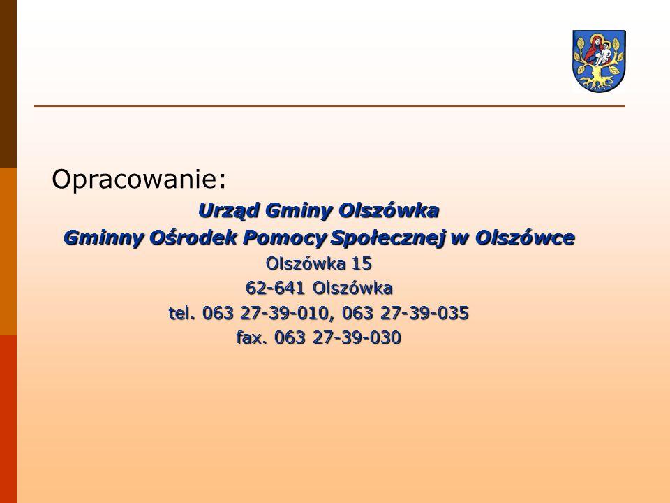 Opracowanie: Urząd Gminy Olszówka Gminny Ośrodek Pomocy Społecznej w Olszówce Olszówka 15 62-641 Olszówka tel. 063 27-39-010, 063 27-39-035 fax. 063 2