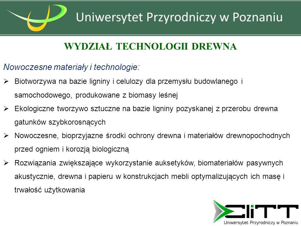 WYDZIAŁ TECHNOLOGII DREWNA Nowoczesne materiały i technologie:  Biotworzywa na bazie ligniny i celulozy dla przemysłu budowlanego i samochodowego, pr